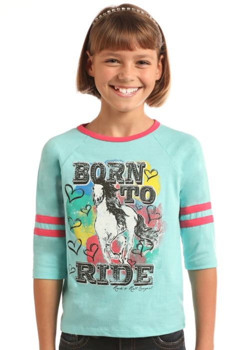 Rock & Roll Cowgirl Horse And Hearts Baseball Tee