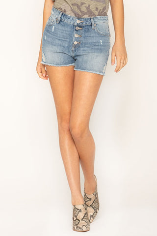 Miss Me Women's High Rise Distressed Denim Shorts