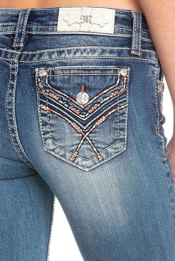 Miss Me Faux Flap Chloe Boot Jeans with Orange Embroidery