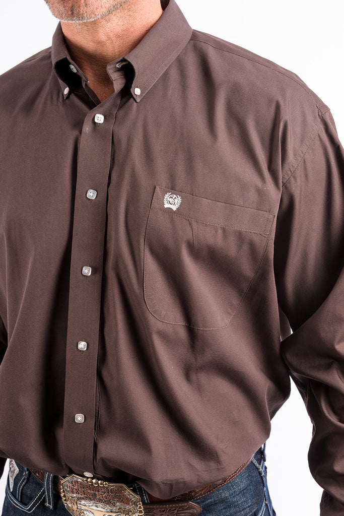 Cinxh Solid Brown Button Shirt