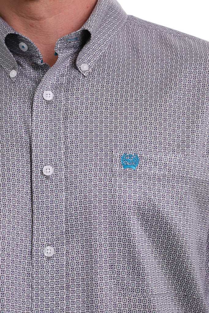 Cinch Men's Tencel Grey, Navy, Turquoise, & White Geometric Print Button Down