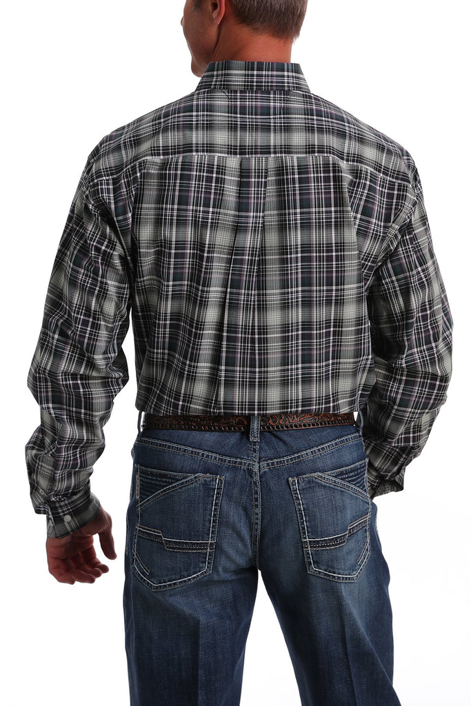 Men's Cinch Purple & Green Plaid Shirt