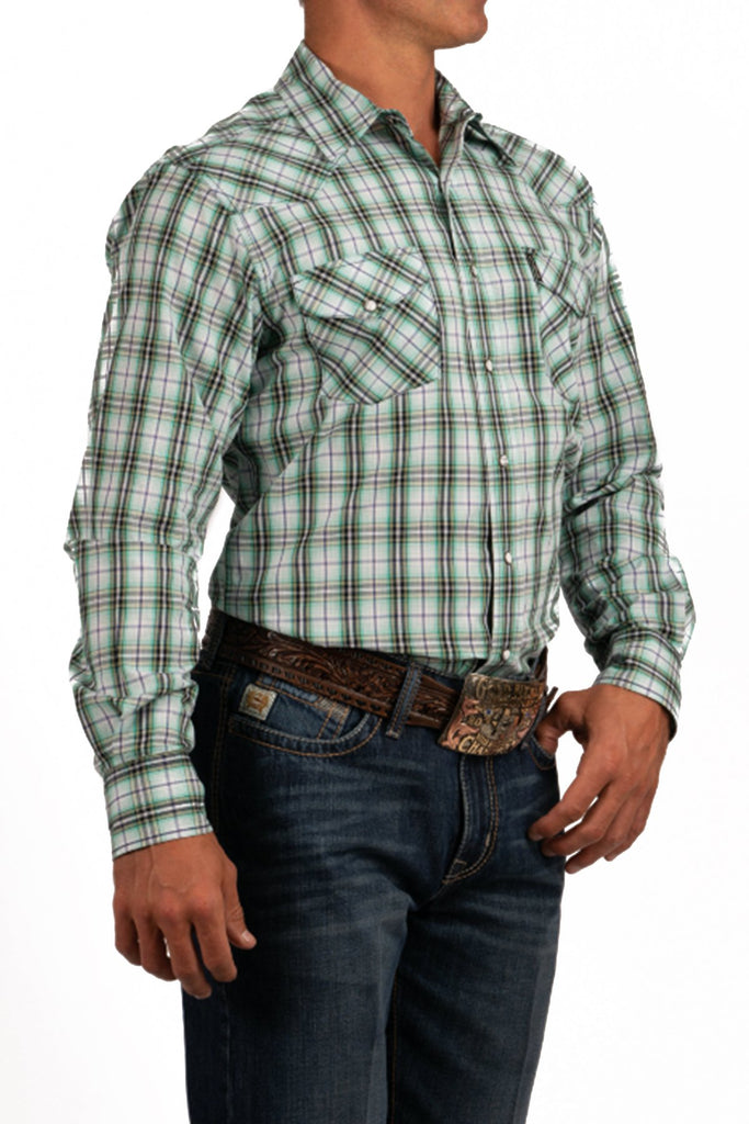 Cinch White, Green, and Blue Plaid Snap Shirt