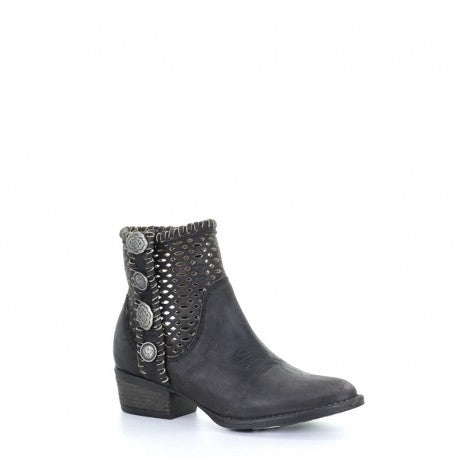 Circle G Black Cutout & Studs Ankle Boot
