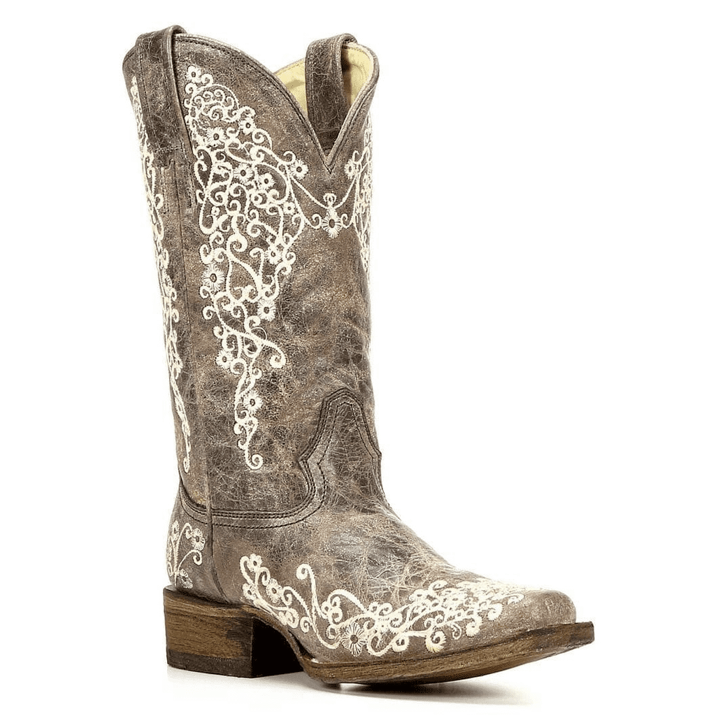Corral Women's Square Toe Brown Crater Bone Embroidery Boots