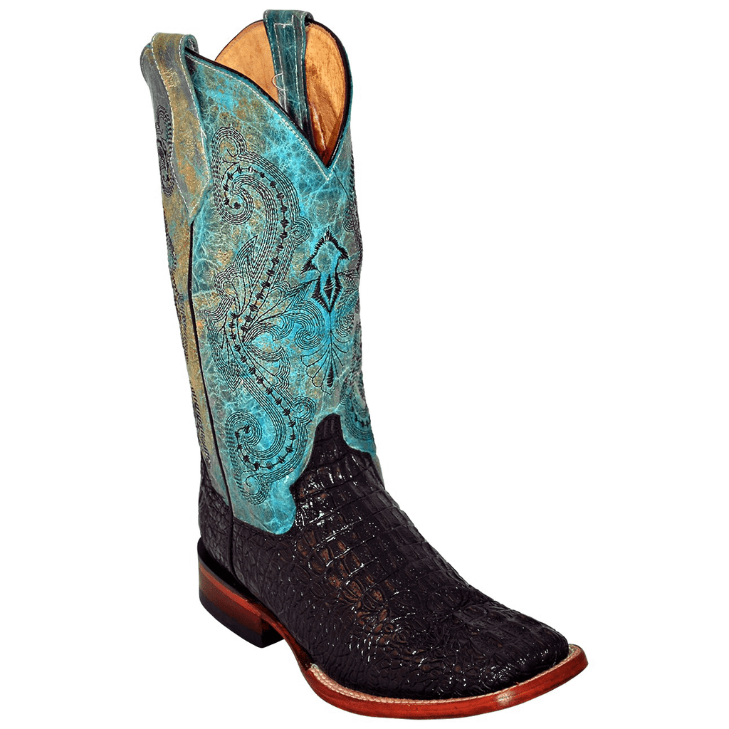 Ferrini Women's Black Caiman Print Square Toe Boots