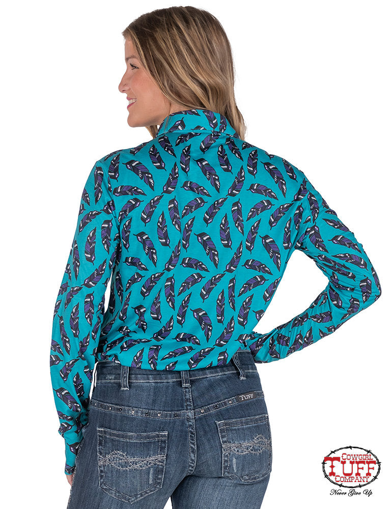 Cowgirl Tuff Sport Jersey Pullover Feather Print Shirt