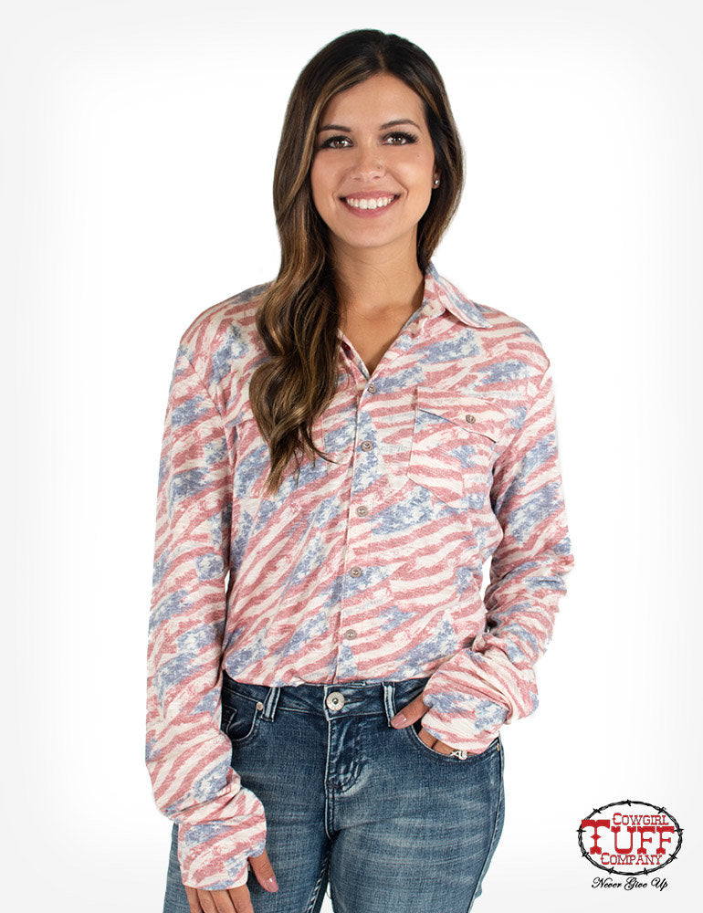 Cowgirl Tuff USA Flag Print Sport Jersey Pullover Button Up Shirt
