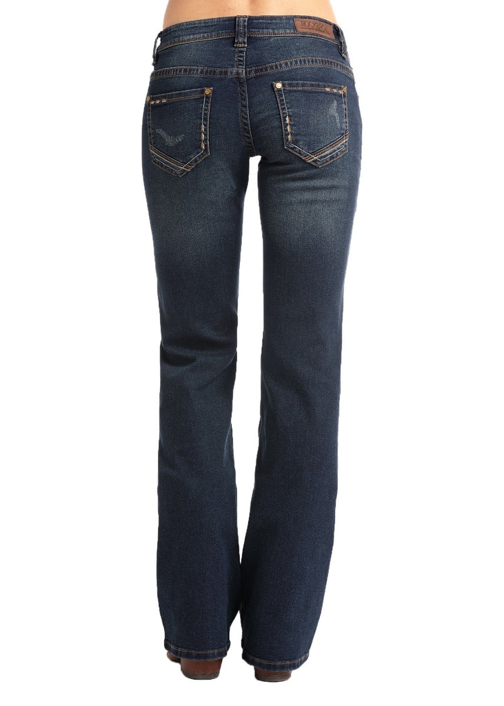 Rock & Roll Cowgirl Extra Stretch Riding Feather Stitch Jean