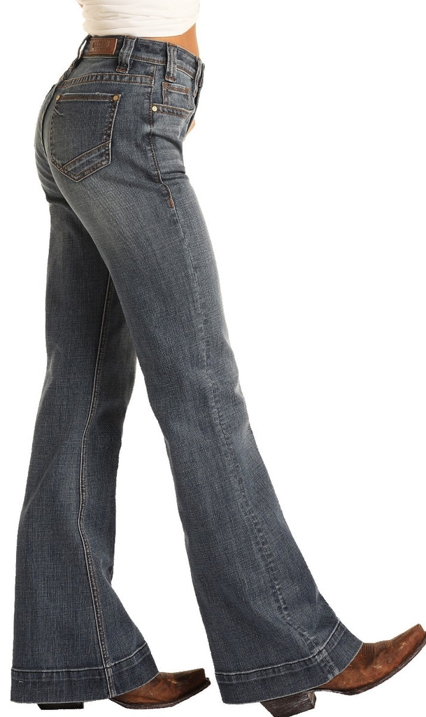R&R Cowgirl High Rise Medium Wash Trouser Jeans