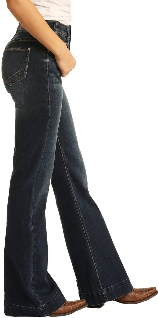 Rock & Roll Women's High Rise Extra Stretch Button Fly Trouser Jeans