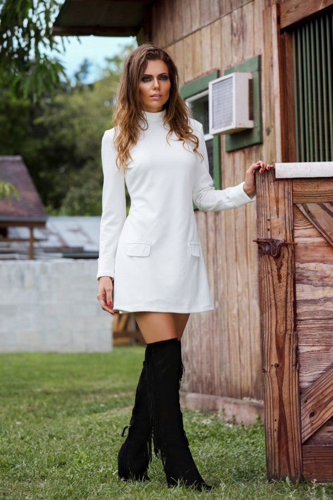 Santana Dress in white and black