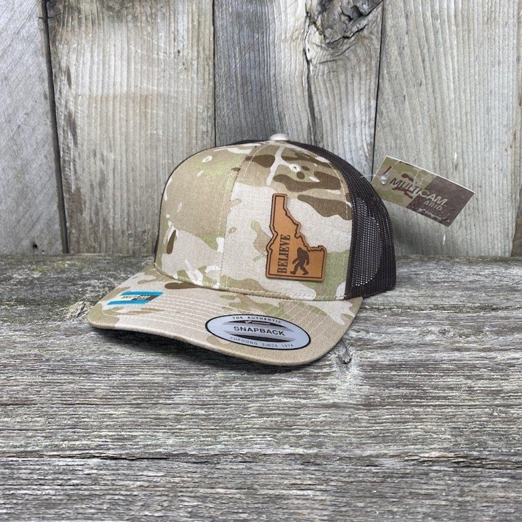 BIGFOOT IDAHO LEATHER PATCH HAT FLEXFIT Leather Patch Hats Hells Canyon Designs Arid/Brown Multicam