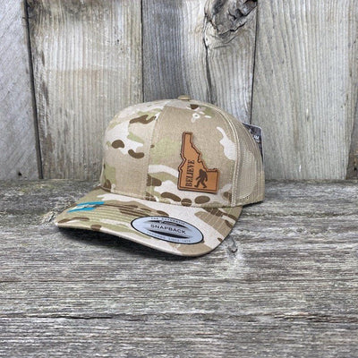 BIGFOOT IDAHO LEATHER PATCH HAT FLEXFIT Leather Patch Hats Hells Canyon Designs Arid/Tan Multicam