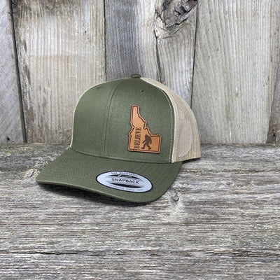BIGFOOT IDAHO LEATHER PATCH HAT FLEXFIT Leather Patch Hats Hells Canyon Designs Loden/Tan