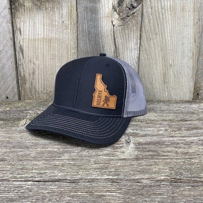 BIGFOOT IDAHO LEATHER PATCH HAT RICHARDSON 112 Leather Patch Hats Hells Canyon Designs Black/Grey