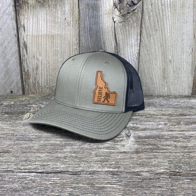BIGFOOT IDAHO LEATHER PATCH HAT RICHARDSON 112 Leather Patch Hats Hells Canyon Designs Loden/Black