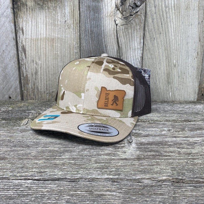 BIGFOOT OREGON LEATHER PATCH HAT FLEXFIT Leather Patch Hats Hells Canyon Designs Arid/Brown Multicam