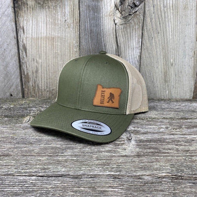 BIGFOOT OREGON LEATHER PATCH HAT FLEXFIT Leather Patch Hats Hells Canyon Designs Loden/Tan