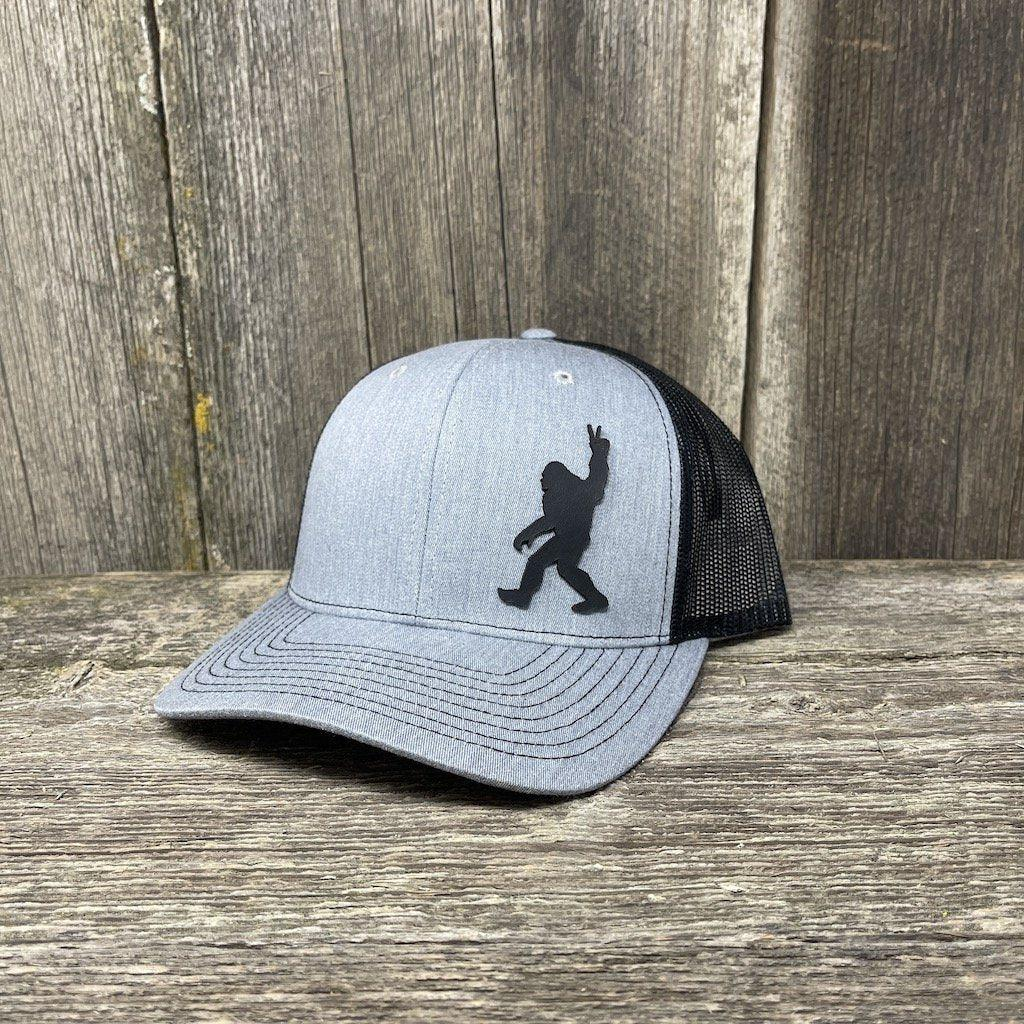 BIGFOOT PEACE SIGN BLACK LEATHER PATCH HAT - RICHARDSON 112 Leather Patch Hats Hells Canyon Designs Heather/Black