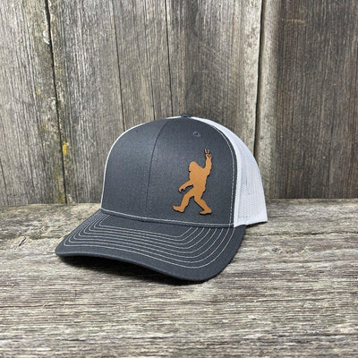 BIGFOOT PEACE SIGN CHESTNUT LEATHER PATCH HAT - RICHARDSON 112 Leather Patch Hats Hells Canyon Designs
