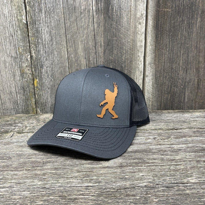 BIGFOOT PEACE SIGN CHESTNUT LEATHER PATCH HAT - RICHARDSON 112 Leather Patch Hats Hells Canyon Designs Charcoal/Black
