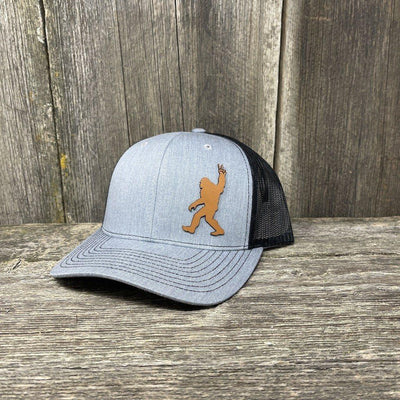 BIGFOOT PEACE SIGN CHESTNUT LEATHER PATCH HAT - RICHARDSON 112 Leather Patch Hats Hells Canyon Designs Heather/Black