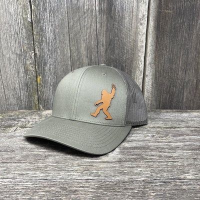 BIGFOOT PEACE SIGN CHESTNUT LEATHER PATCH HAT - RICHARDSON 112 Leather Patch Hats Hells Canyon Designs Loden