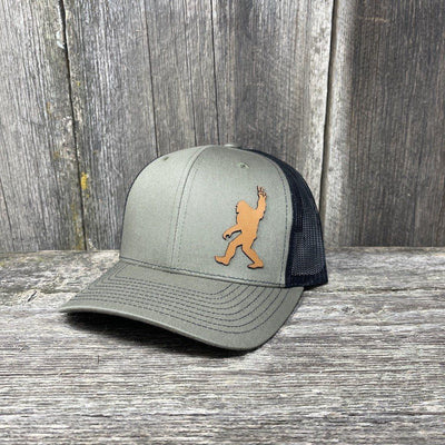 BIGFOOT PEACE SIGN CHESTNUT LEATHER PATCH HAT - RICHARDSON 112 Leather Patch Hats Hells Canyon Designs Loden/Black
