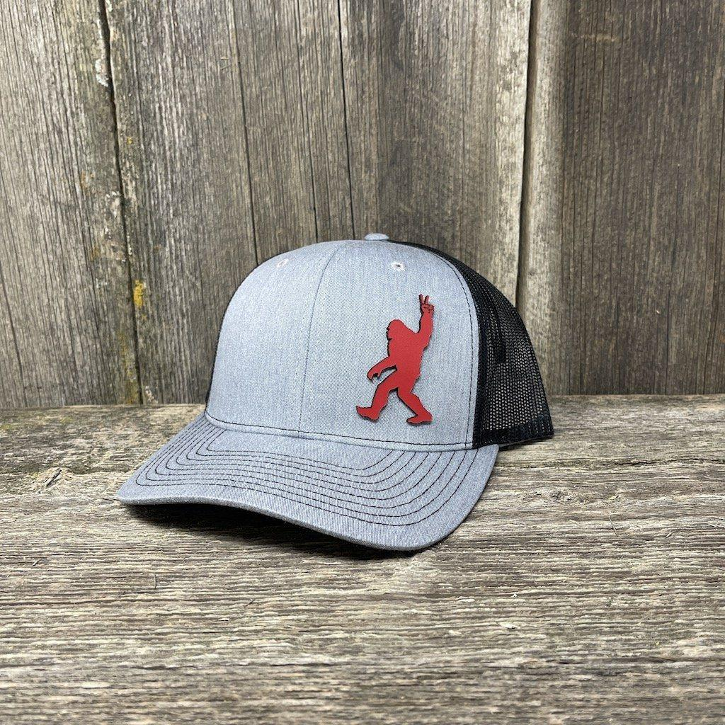 BIGFOOT PEACE SIGN RED LEATHER PATCH HAT - RICHARDSON 112 Leather Patch Hats Hells Canyon Designs Heather/Black