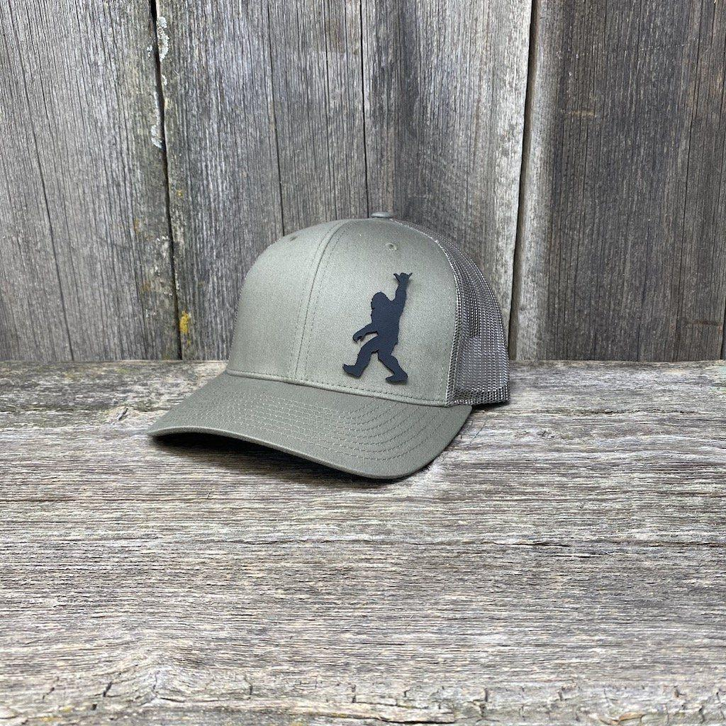BIGFOOT SHAKA BLACK LEATHER PATCH HAT - RICHARDSON 112 Leather Patch Hats Hells Canyon Designs Loden