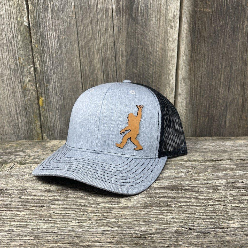 BIGFOOT SHAKA CHESTNUT LEATHER PATCH HAT - RICHARDSON 112 Leather Patch Hats Hells Canyon Designs Heather/Black