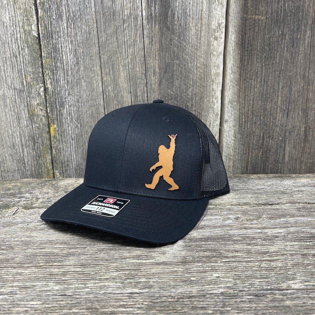BIGFOOT SHAKA CHESTNUT LEATHER PATCH HAT - RICHARDSON 112 Leather Patch Hats Hells Canyon Designs Solid Black