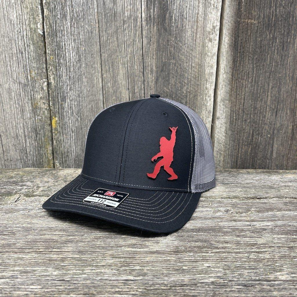 BIGFOOT SHAKA RED LEATHER PATCH HAT - RICHARDSON 112 Leather Patch Hats Hells Canyon Designs Black/Charcoal
