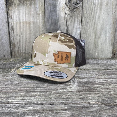 BIGFOOT WASHINGTON LEATHER PATCH HAT FLEXFIT Leather Patch Hats Hells Canyon Designs Arid/Brown Multicam