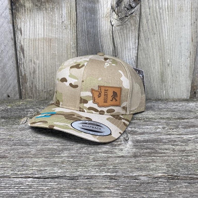 BIGFOOT WASHINGTON LEATHER PATCH HAT FLEXFIT Leather Patch Hats Hells Canyon Designs Arid/Tan Multicam
