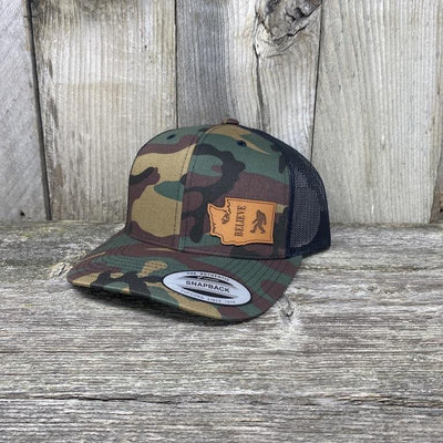 BIGFOOT WASHINGTON LEATHER PATCH HAT FLEXFIT Leather Patch Hats Hells Canyon Designs BDU/Black