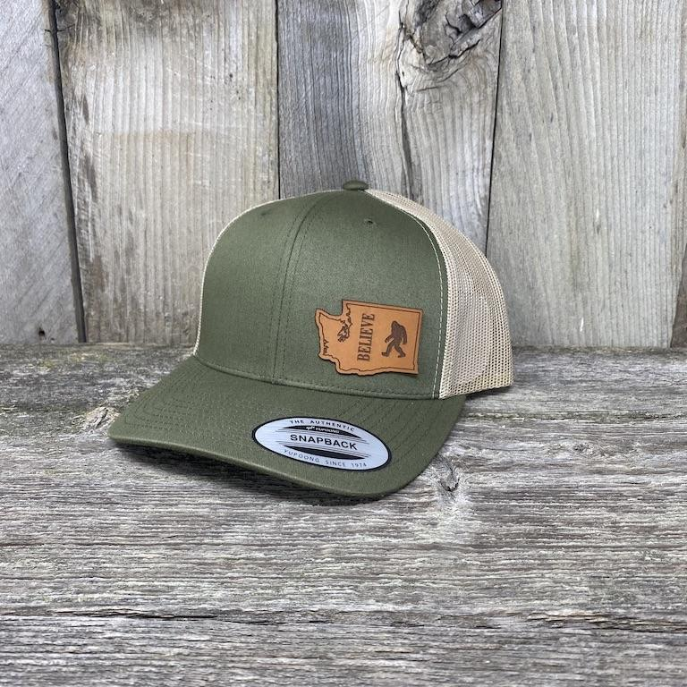 BIGFOOT WASHINGTON LEATHER PATCH HAT FLEXFIT Leather Patch Hats Hells Canyon Designs Loden/Tan