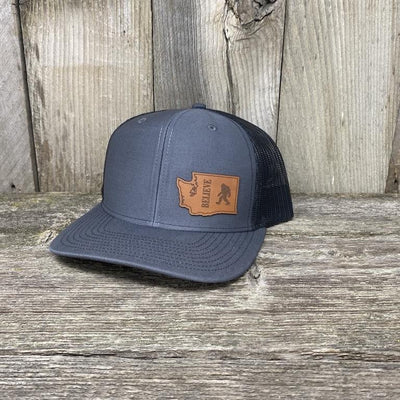 BIGFOOT WASHINGTON LEATHER PATCH HAT RICHARDSON 112 Leather Patch Hats Hells Canyon Designs Charcoal/Black