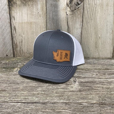 BIGFOOT WASHINGTON LEATHER PATCH HAT RICHARDSON 112 Leather Patch Hats Hells Canyon Designs Grey/White