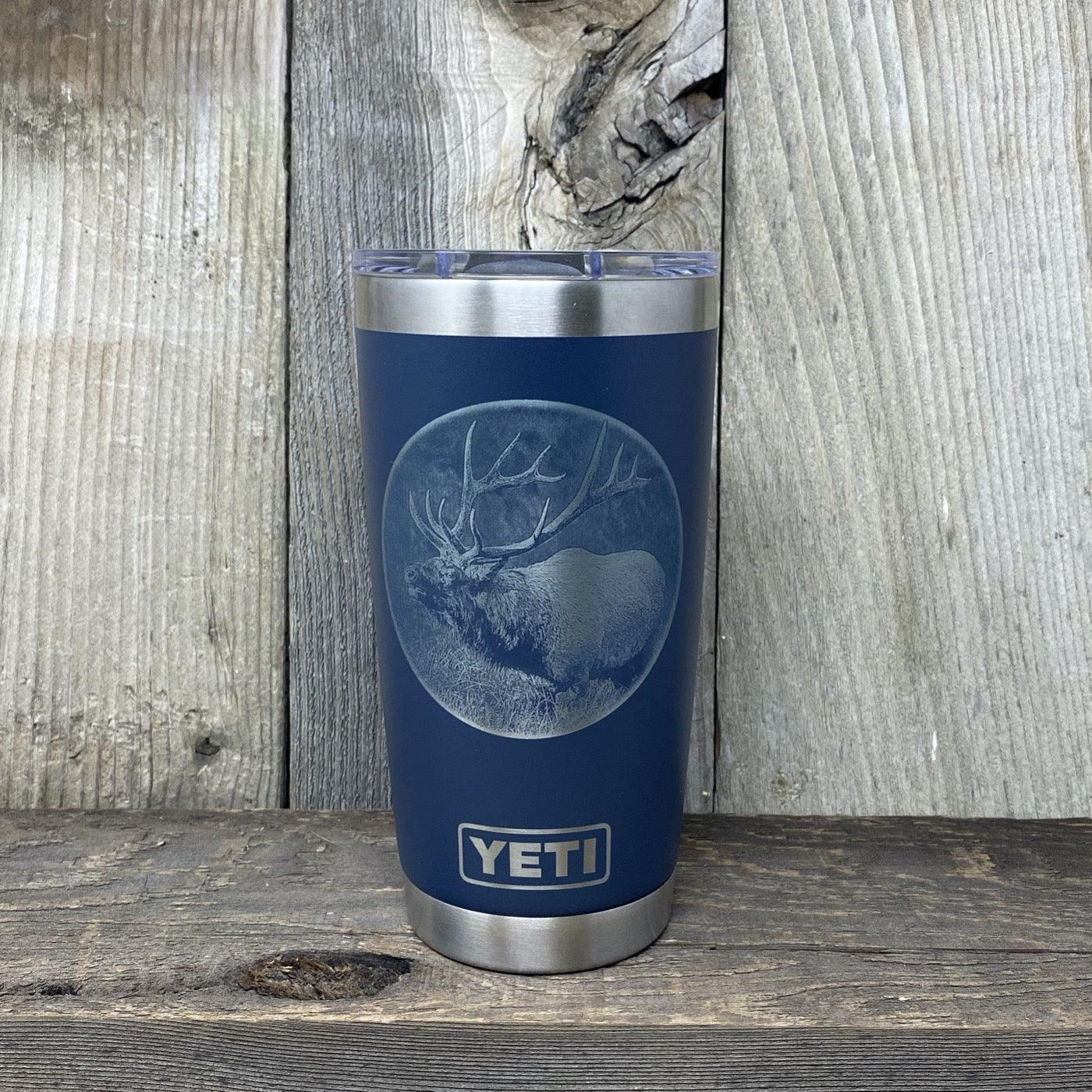 Bugling Elk 20oz Yeti Navy Blue Tumbler Hells Canyon Designs