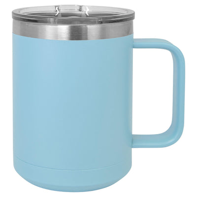 CAMP STYLE COFFEE CUPS 15 oz Coffee Mugs Hells Canyon Designs Light Blue