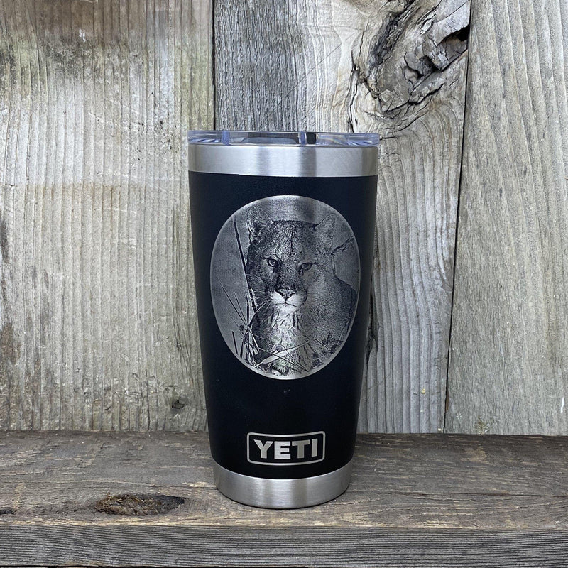 Cougar 20oz YETI Black Tumbler Hells Canyon Designs