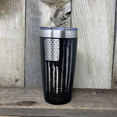 Distressed 20oz Flag Tumblers Tumbler Hells Canyon Art Glass and Laser Black Ring Neck