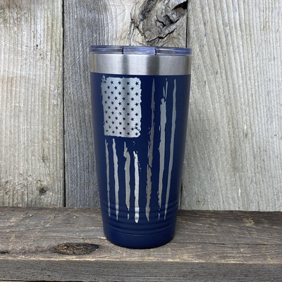 Distressed 20oz Flag Tumblers Tumbler Hells Canyon Art Glass and Laser Navy Blue