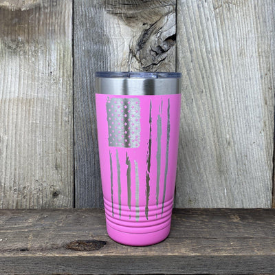 Distressed 20oz Flag Tumblers Tumbler Hells Canyon Art Glass and Laser Pink