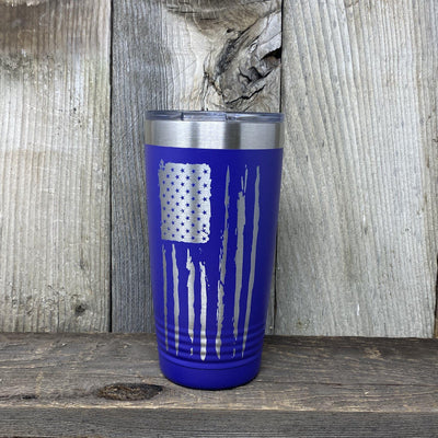 Distressed 20oz Flag Tumblers Tumbler Hells Canyon Art Glass and Laser Purple