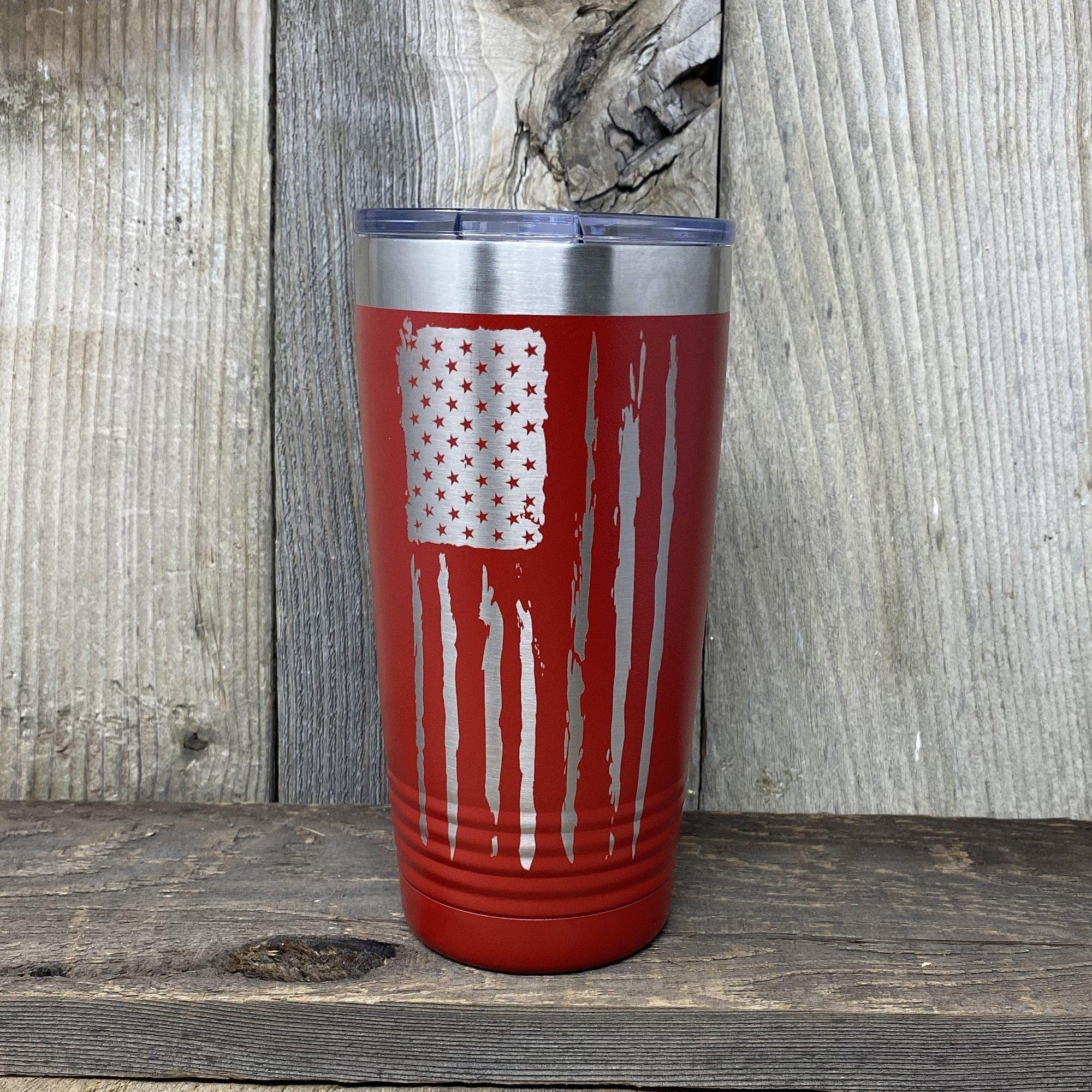Distressed 20oz Flag Tumblers Tumbler Hells Canyon Art Glass and Laser Red