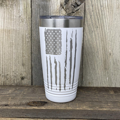 Distressed 20oz Flag Tumblers Tumbler Hells Canyon Art Glass and Laser White