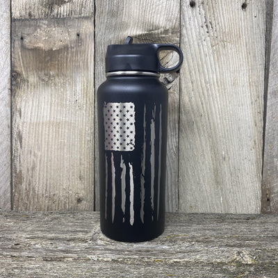 Distressed Flag 32oz Hydro Bottle Water Bottles Hells Canyon Art Glass and Laser Black